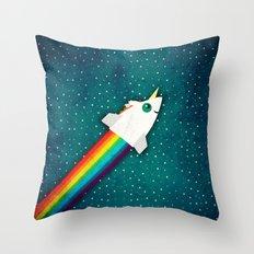 Unicorn Rainbow Rocket Throw Pillow