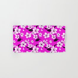 Light Purple & White Sakura Cherry Tree Flower Blooms on Dark Fuchsia Purple Hawaiian Floral Pattern Hand & Bath Towel