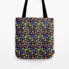 Rainbow Paw Print Watercolor Pattern Tote Bag