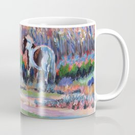 Chincoteague Pony, a colorful landscape of a wild horse in the dunes on the beach in Virginia. Coffee Mug