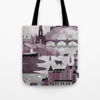 travel poster Tote Bags featuring Edinburgh Travel Poster Illustration by ClaireIllustrations