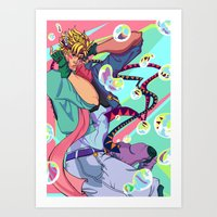 jjba Art Prints featuring Caesar Zeppeli JJBA Battle Tendency by Lemonade Stand Of Life