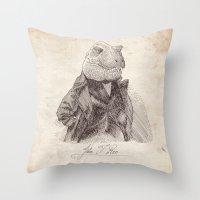 bouletcorp Throw Pillows featuring John T. Rex by Bouletcorp
