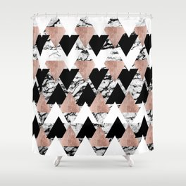 Modern Black White Rose Gold Triangles on Marble Shower Curtain