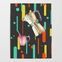 Coffee Pop Art Collage Good Morning Poster