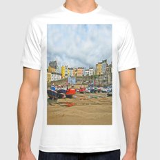 Tenby Harbour . Sunlight. Pembrokeshire. Wales. Mens Fitted Tee MEDIUM White