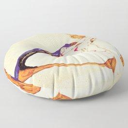 Egon Schiele - Blonde nude model sitting on brown cloth Floor Pillow