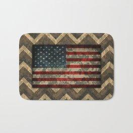 Brown Military Digital Camo Pattern with American Flag Bath Mat