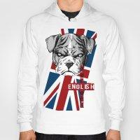 english bulldog Hoodies featuring English Bulldog by Det Tidkun