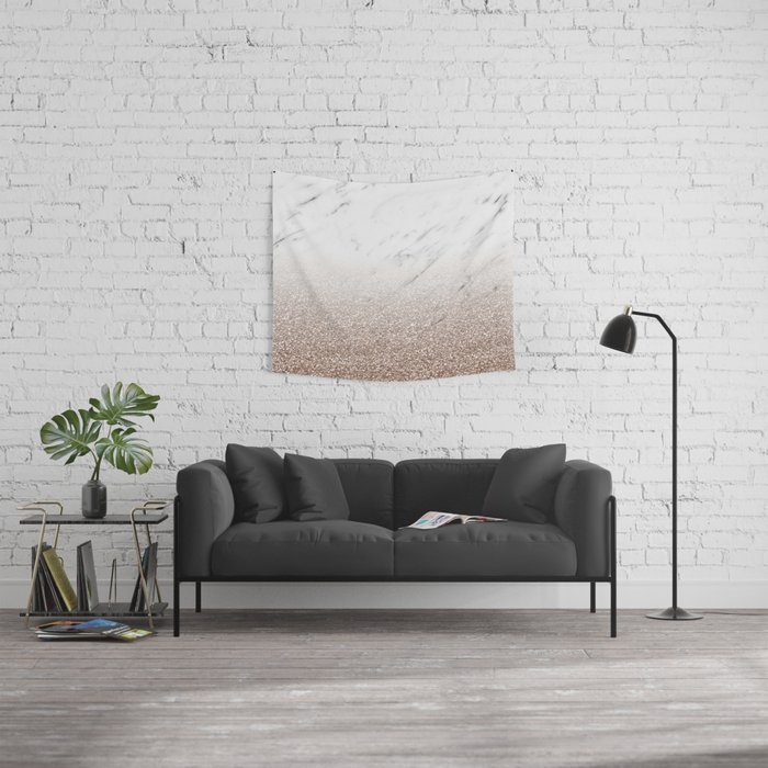 Glitter ombre - white marble & rose gold glitter Wall Tapestry