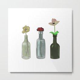 Original Flowers in Bottles Metal Print
