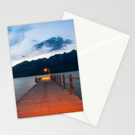 Moon rising at Glenorchy wharf, NZ Stationery Cards