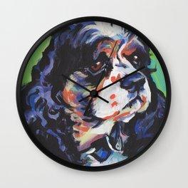 fun American Cocker Spaniel bright colorful Pop Art painting by Lea Wall Clock