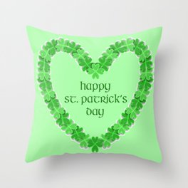 Happy St. Patricks Day Heart Throw Pillow