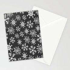 Snowflakes Pattern (Dark Gray) Stationery Cards