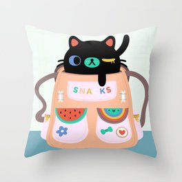 Cat Snack Backpack Throw Pillow