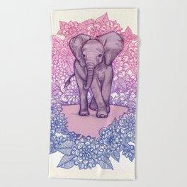 Cute Baby Elephant in pink, purple & blue Beach Towel
