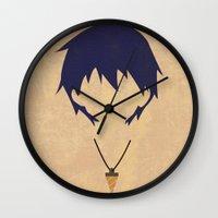 gurren lagann Wall Clocks featuring Minimalist Simon by 5eth