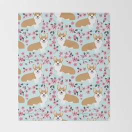 Corgi cherry blossom florals dog must have cute welsh corgis gifts pure breed Throw Blanket