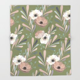 Anemones & Olives - Green Throw Blanket