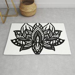 Black Lotus Mandala Rug