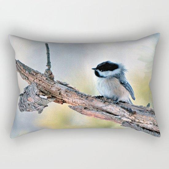 Chickadee Against the Wind Rectangular Pillow