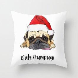 Bah Humpug Santa Dog Throw Pillow