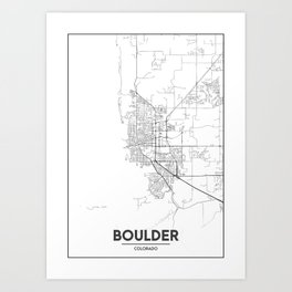 Minimal City Maps - Map Of Boulder, Colorado, United States Art Print