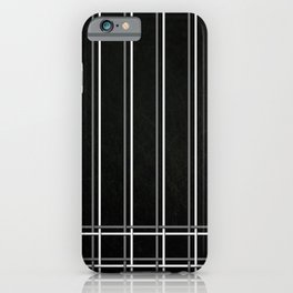 White & Gray Pinstripes on Scratched Black Grunge Illustration - Graphic Design iPhone Case