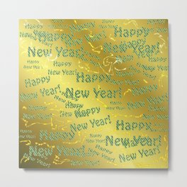 blue Colorful design happy new year text in gold, festive, elegant gift for anyone in the family Metal Print