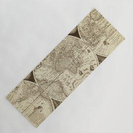 Antique world map with sail ships, sepia Yoga Mat