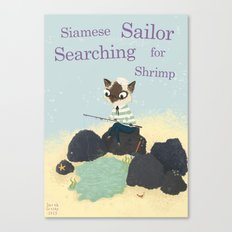 S is for Siamese Sailor Searching for Shrimp Canvas Print