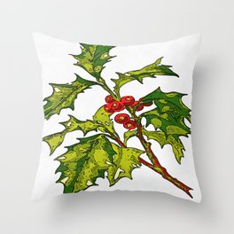 Black Outline Art Of Christmas Holly Throw Pillow