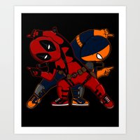 deathstroke Art Prints featuring WADE and SLADE by Betmac