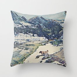Mountain Lake Trail Throw Pillow