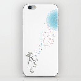 A girl art print with soap ballon iPhone Skin