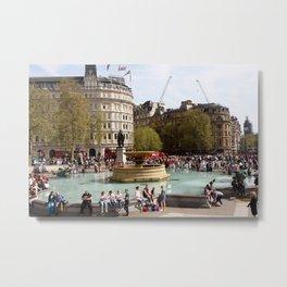 Water Fountain In Trafalgar Square, London Metal Print