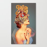 freud Canvas Prints featuring Freud vs Jung by Eugenia Loli