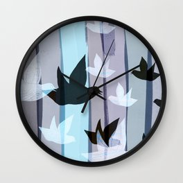 Flying birds in the wood Wall Clock