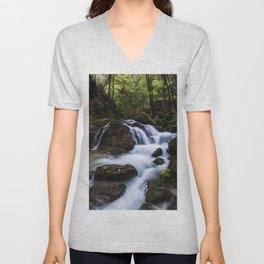 Magical waterfall in gorge Hell Unisex V-Neck