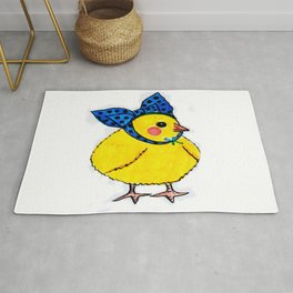 Baby Chick Wears a Blue Bow Rug
