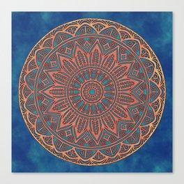 Wooden-Style Mandala Canvas Print