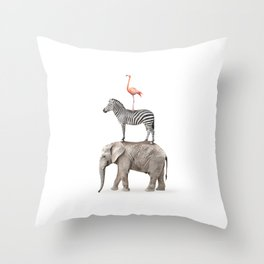 Stacked Safari Animals Throw Pillow