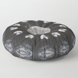 Full Moon Spell // Magical Visionary Art Lunar Phases Magick Witch Witchcraft Luna Goddess Floor Pillow