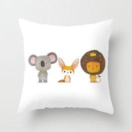 Koala, Fennec & Mr.Lion Throw Pillow