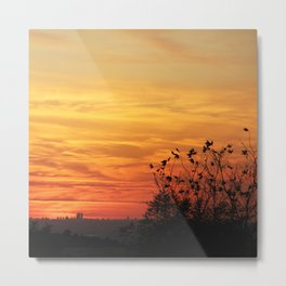Tree silhouette on sunset Metal Print
