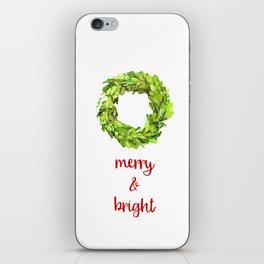 Merry & Bright Christmas Boxwood Wreath iPhone Skin