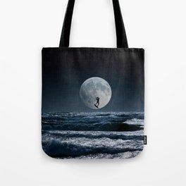 Kitesurfer in the moon in blue night sky horizon Tote Bag