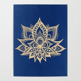 Gold and Blue Lotus Flower Mandala Poster