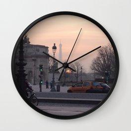 La tour Eiffel at Sunset Wall Clock